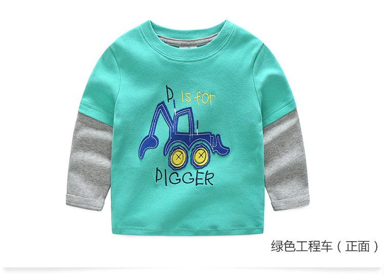 2018 Spring Autumn For 2-9 10 Years Children Cotton Striped Patchwork Cartoon Car Bus Truck Baby Kids Boys Long Sleeve T Shirts (37)
