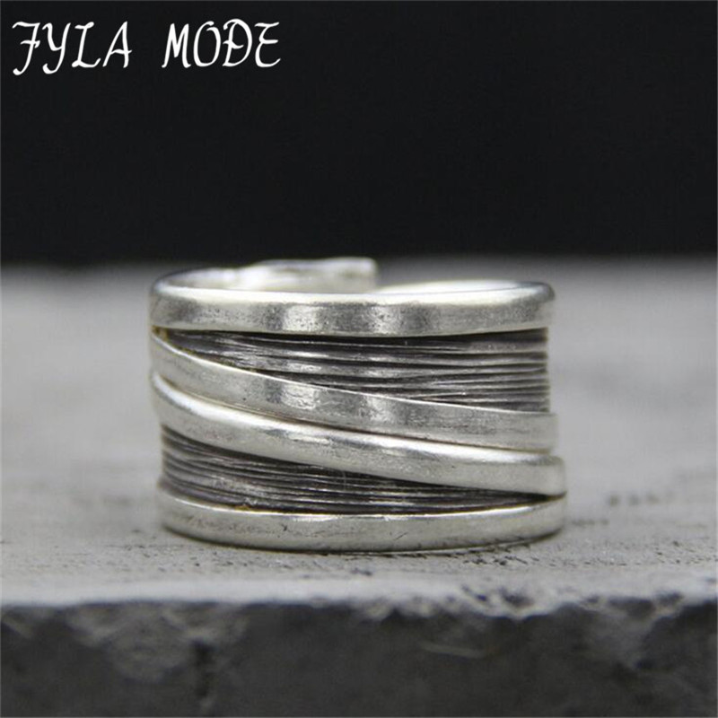 Fyla Mode 925 Sterling Silver Vintage Rings For Women Original Handmade To Do The Old Process Lady Sterling-Silver-Jewelry 13mm