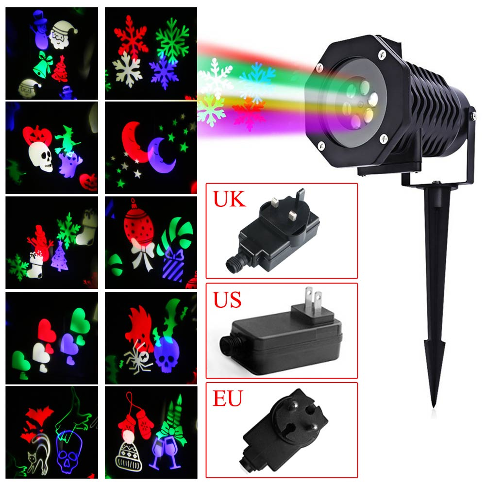 Outdoor Waterproof Christmas Party Decoration LED Projector Lamp Auto Rotating Landscape Light 10 Lens Patterns EU/US/UK plug  free shipping us plug outdoor ip65 waterproof stage light christmas lights xmas light projector christmas uk us eu plug xx