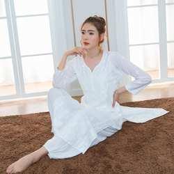 Индийский традиционный костюм для йоги хлопок ручная вышивка Топ кундалини белая одежда