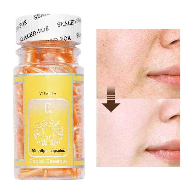 90pcs/bottle Vitamin E Capsules Serum Spot Acne Removing Whitening Cream VE Facial Freckle Capsule