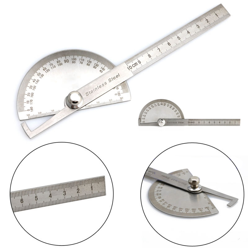 1Pc Stainless Steel 180 Degree Protractor Angle Finder Measuring Ruler Tools angle ruler protractor stainless steel rulers with 180 degree angle square woodworking 10cm length high precision angle ruler
