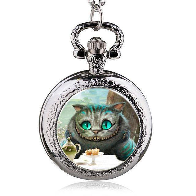 fashion alice in wonderland quartz cat pocket watch necklace woman fob watches black round convex lens glass picture