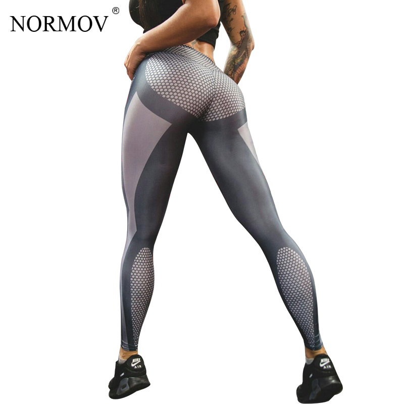 NORMOV 3D Digital Printed   Leggings   for Women Honeycomb Push Up Leggins High Waist Trousers Sexy Elasticity Workout Jeggings