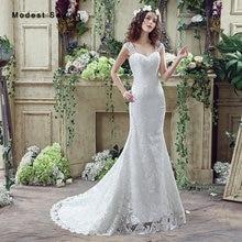 Elegant White Mermaid Lace Cover Wedding Dress 2017 with Straps Formal Women Long Bridal Gown vestido de casamento Custom Made