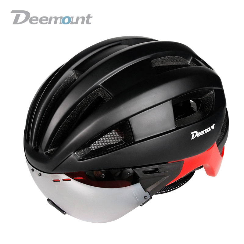 Deemount New Helmet W/ Google Lens for Cycling Biking Sports Wear Safety Device Head Protection 16 vents PC Shell EPS foam