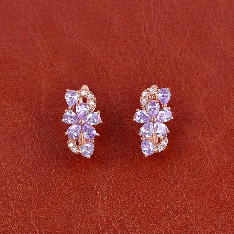 ISHOWLEE סגול קריסטל פרח 585 עלה זהב עגילי נשים טבעי זירקון הרבעה עגילים לילדה 2019 אלגנטי תכשיטי esp04