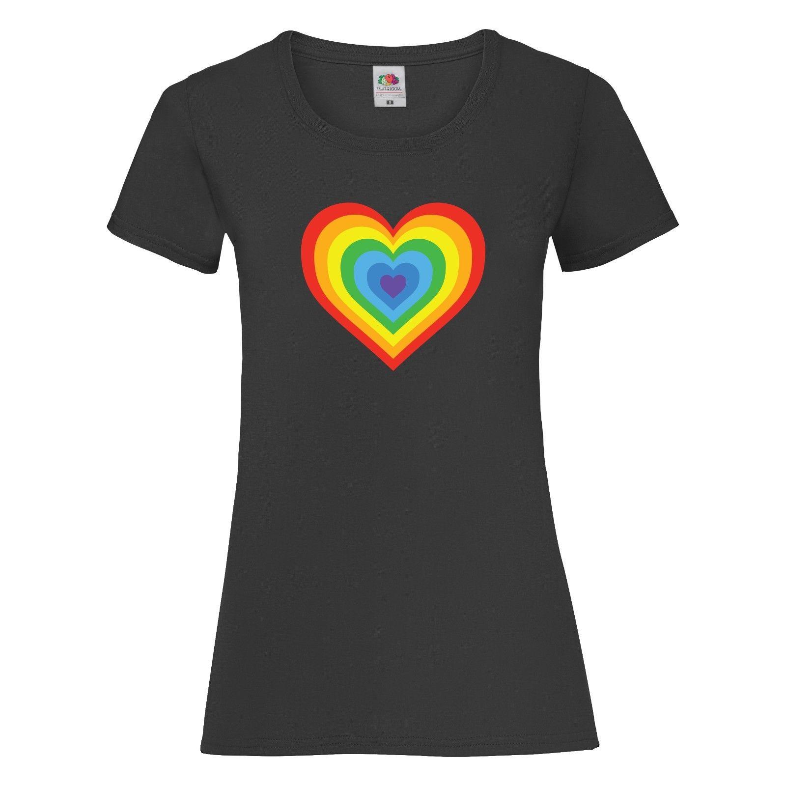 Multiple Heart Rainbow T Shirt Tee Top Womens Ladies Ladyfit Unisex LGBT PrideMen'S T-Shirts Summer Style Fashion Swag Men