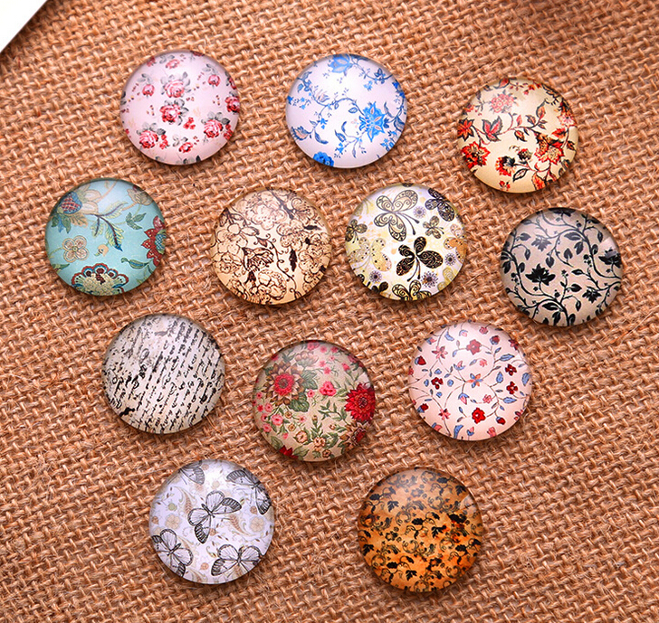24pcs 12mm 14mm 16mm Flower Pattern Round  Handmade Photo Glass Cabochons & DIY Jewelry Glass Dome Cover Pendant Cameo Settings