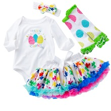2019 Cute Newborn Baby Girl Clothes Set 4pcs Easter Fancy Eggs Romper Tutu Skirt Long Sleeve Bodysuit Outfit Girls Clothing