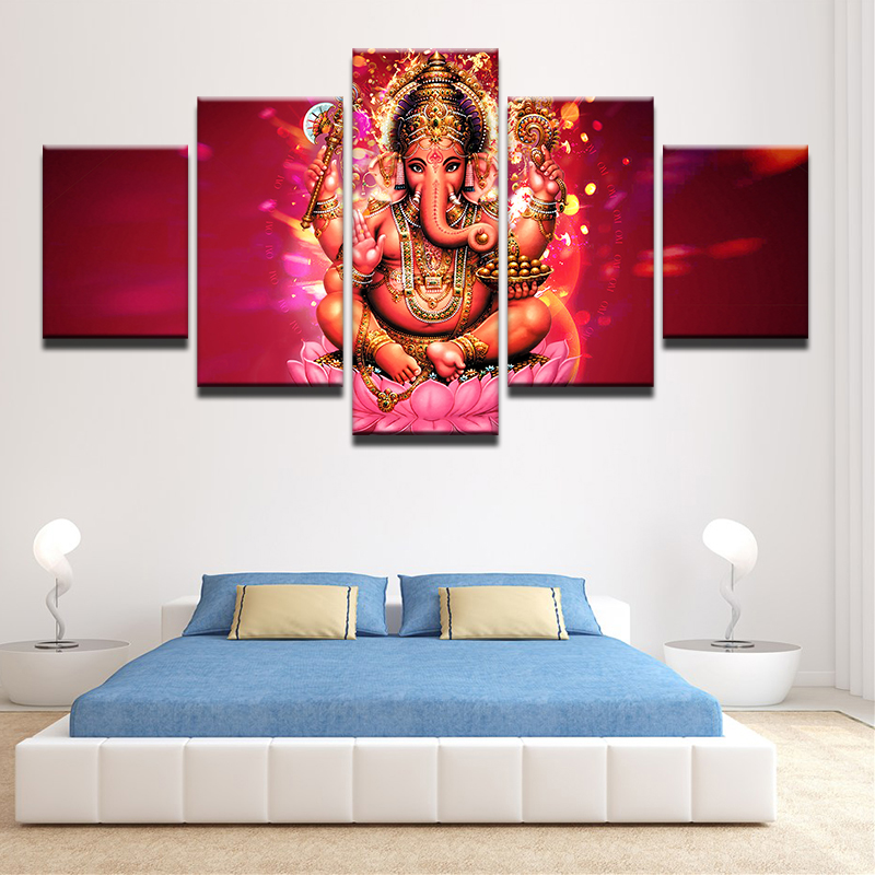 Wall Art Frame Living Room HD Prints Poster 5 Pieces India Tibetan Ganesha  Elephant Head God Canvas Painting Pictures PENGDAFramed Elephant Art Promotion Shop for Promotional Framed Elephant  . Framed Pictures For Living Room. Home Design Ideas