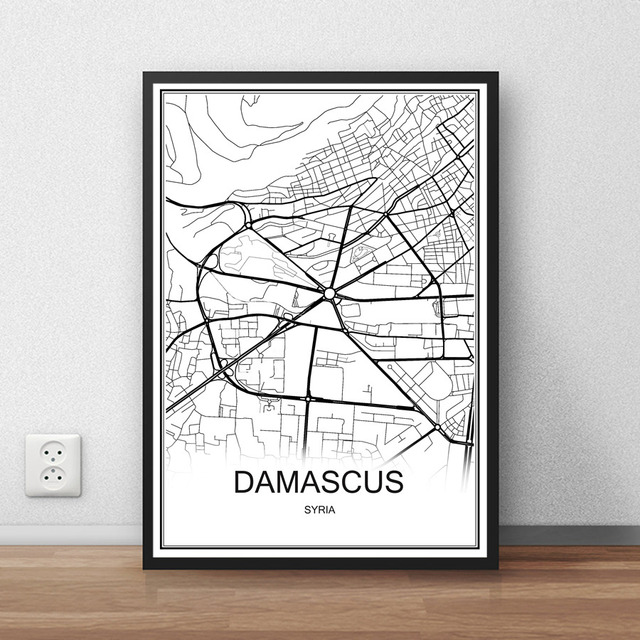 DAMASCUS Syria City Street Map Print Poster Abstract Coated Paper ...