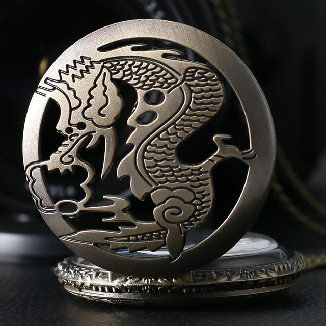 2017 New Arrival Bronze Quarzt Watch Cool Chinese Dragon Fashion Fob Pocket Watc
