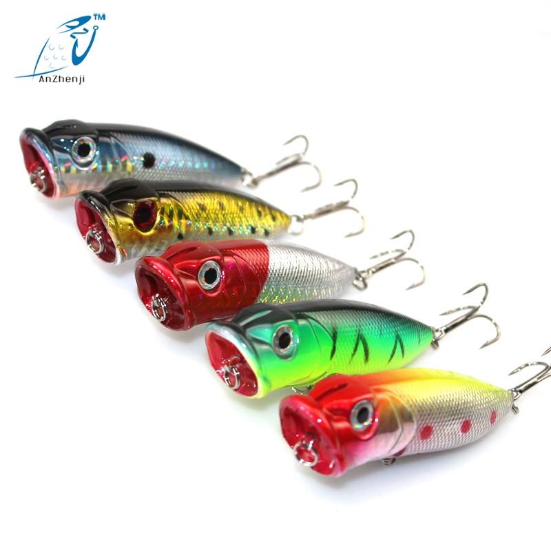 5 ks Lot Popper Rybářské návnady Japonsko 13G-6.5CM Tvrdé plastové návnady 6 # Háčky Měřidlo Isca Umělá návnada pro rybaření Značka Poper