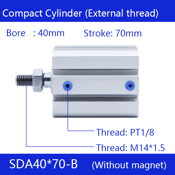 SDA40*70-B Free shipping 40mm Bore 70mm Stroke External thread Compact Air Cylinders Dual Action Air Pneumatic Cylinder