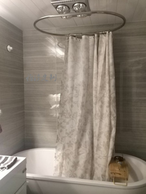 Custom Bathtub Shaped Oval Round Stainless Steel Shower Curtain Rod Supporting Various Styles Of Tub Bath Bar
