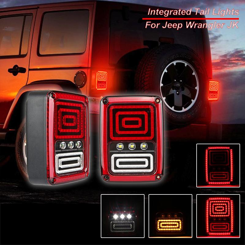 Auxmart 35w LED Integrated Taillight EU for Jeep Wrangler JK 2007-2016 Brake Light Turn Signal Running Rear Lights EU Version шарф женский element lisette light coco page 2