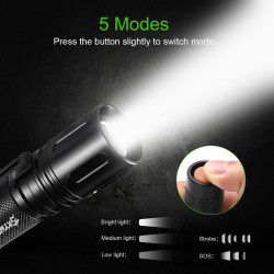 2018 10000Lumens Zoomable Tactical Military LED 18650 Flashlight Torch Lamp Light