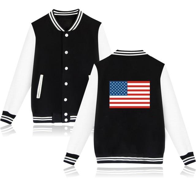 943443ac1c210 Flaga USA Baseball Kurtka Capless Stany Zjednoczone Damskie Swetry I Bluzy  Zimowe Bluza Damska Kurtka Ubrania