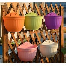 Пластиковые настенные цветочные горшки подвесная корзина для хранения кашпо гибкие цепи горшки для дома и сада декоративные поделки разные цвета