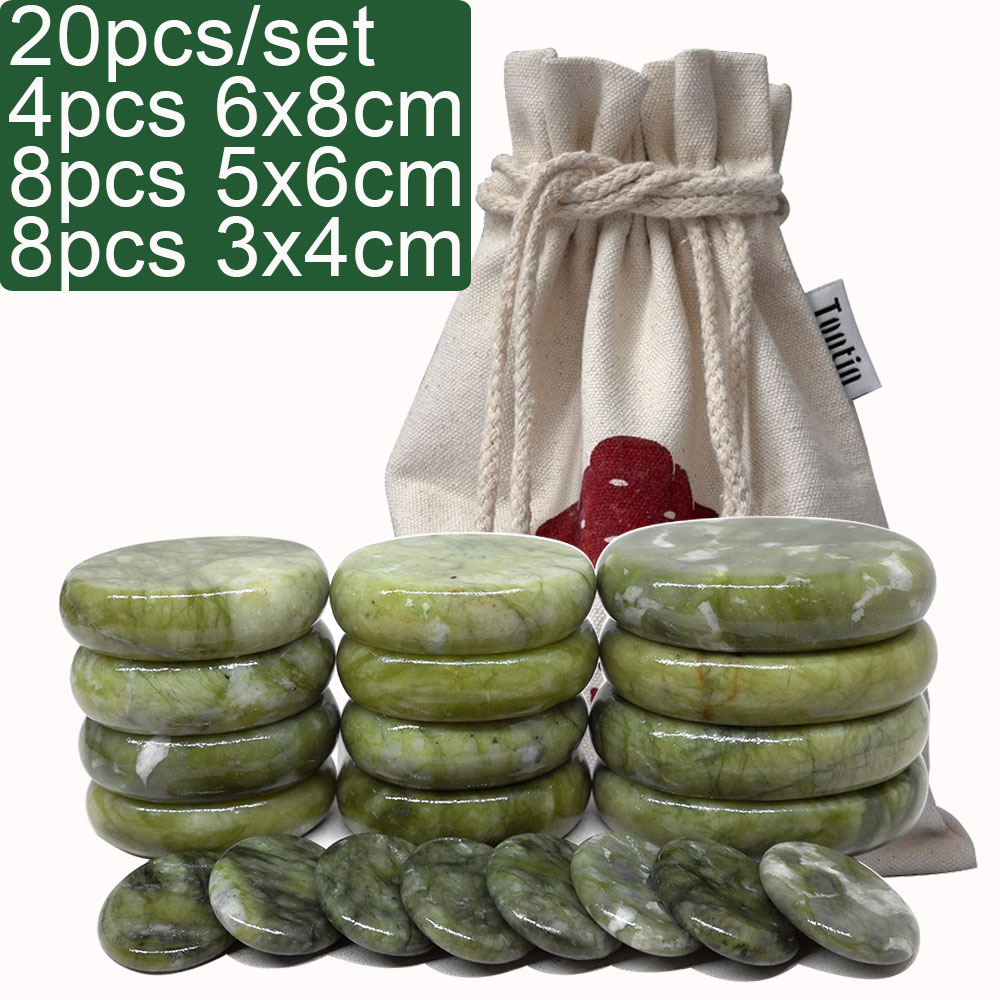 20pcs/set Green jade body massage hot stone SPA with canvas CE and ROHS Relieve Stress Back Pain Health Care massage stone