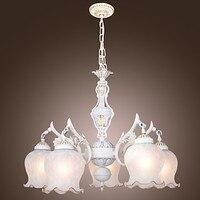 110V 220V White Iron Big Modern LED Chandelier Lamp With 5 Lights Lighting Chandeliers Of Dinnig