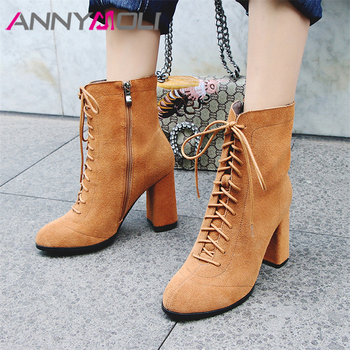 ANNYMOLI Real Leather Ankle Boots Women Cow Suede Thick Heels Short Boots Zipper Super High Heel Shoes Ladies Autumn Size 34-39