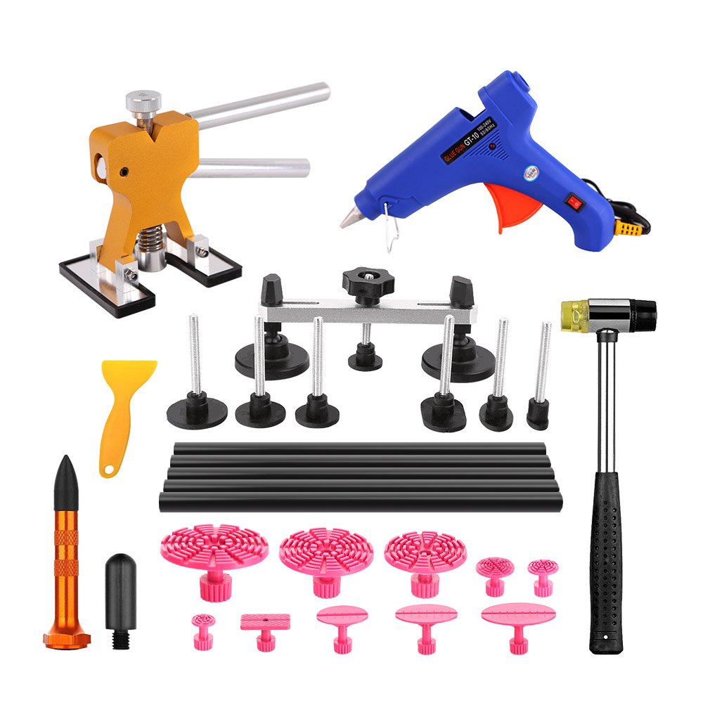 PDR Tools Paintless Dent Repair Tools Car Hail Damage Repair Tool Hot Melt Glue Sticks Glue Gun Puller Tabs Kit Ferramentas pdr hail repair kit with 1 4kg pdr slide hammer hail glue puller pdr 206