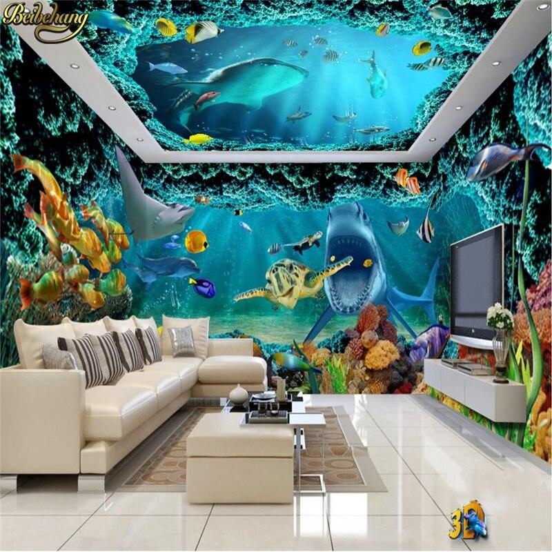 Beibehang personnalisé Photo papier peint Mural fantaisie monde sous marin requin thème espace ...