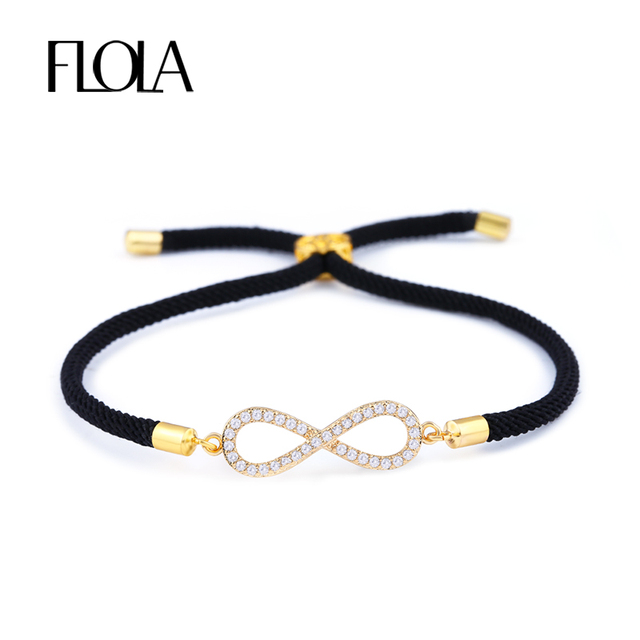 Flola 2018 Lucky Infinity Charm Bracelet With Zircon Black String Adjust Dangle For Women