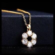 MxGxFam счастливые Круглые Подвески ожерелье для женщин повседневные ювелирные изделия золотой цвет AAA+ кубический циркон 46 см цепь