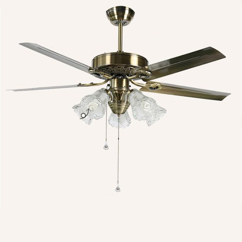 Dedicated 52 Vintage European Iron Leaf Glass Led E27*5 Ceiling Fans Light For Living Room Dining Room Bedroom Restaurant Deco Lamp 1583 Comfortable Feel Ceiling Lights & Fans