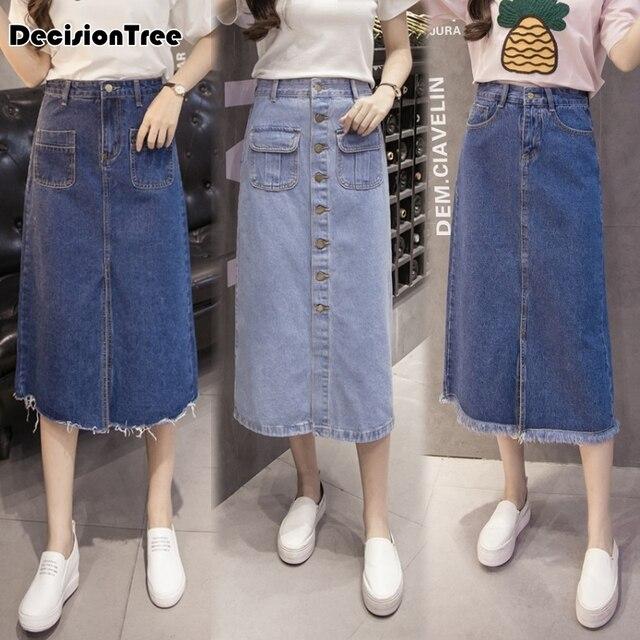 9619be725555 2019 new high waist suspender school girl skirt ladies front button jeans  midi maxi denim skirt stretch skirt women saia long