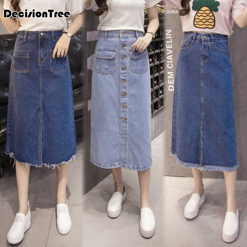 38d31c734 Detail Feedback Questions about 2019 new high waist suspender school girl skirt  ladies front button jeans midi maxi denim skirt stretch skirt women saia ...