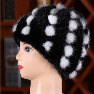 Free shipping 2014 women's handmade real knitted mink fur hat with dot pattern warm luxury cap for winter coldproof windproof