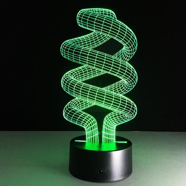 Forma espiral de Luz de sete Cores Em Mudança Visual 3D Led Night Light Novidade Lâmpadas de Mesa como Decoração de Casa Além de Lampara