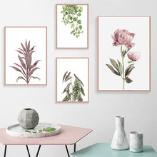 Peony Flower Poster Nordic Poster Nature Green Leaf Wall Art Canvas Painting Nordic Poster Wall Pictures Bedroom Decor Unframed(China)