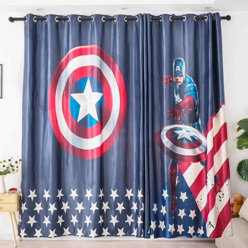 Cartoon Trees Curtains For Kids Boys Bedroom Blinds Linen: INS Modern Captain America Cartoon Blackout Curtains For