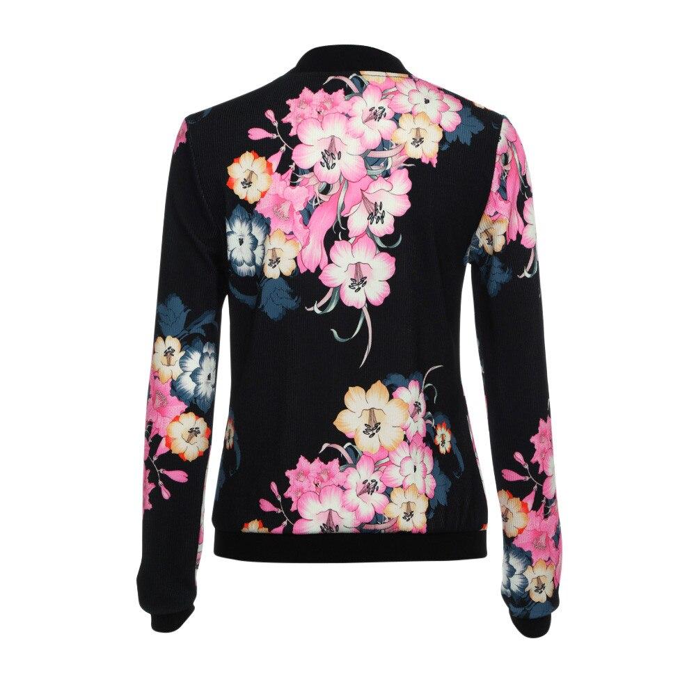 Womens Ladies Biker Celeb Camo Flower FLoral Print Zipper Up Bomber Jacket Y82523