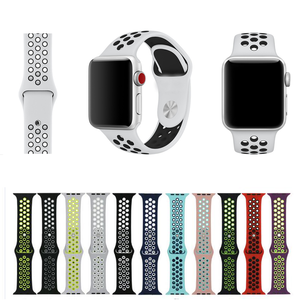New Sport Silicone Strap For Apple Watch Band 40mm 44mm 42mm 38mm Bracelet Wrist Belt Rubber Watchband For Iwatch 4/3/2/1 Nike