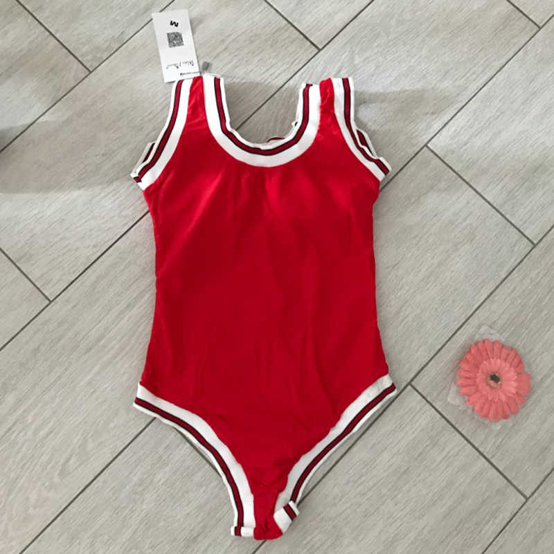2fcec80504 ... Women Bulls Bodysuit Sexy Swimsuit One Piece Number One Letter Swimwear  High Cut Red Bathing Suit ...