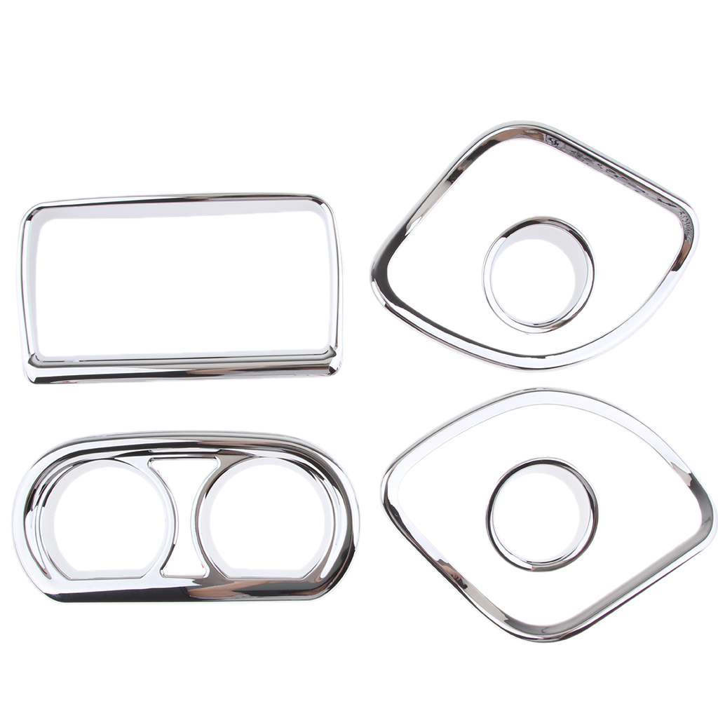 4 Pcs Motorcycle Chrome Dash Gauge Plastic Cover Trim For   Touring Electra Street Road Glide4 Pcs Motorcycle Chrome Dash Gauge Plastic Cover Trim For   Touring Electra Street Road Glide