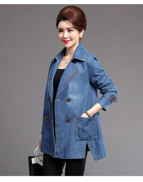 ffe103848 Autumn Jacket Coat Middle Aged Mother Denim Jacket Casual Short ...