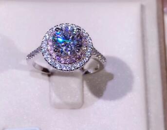 T760 925 anillo de plata para las mujeres 2 quilates 8 MM amortiguador anillo de Zirconia cúbica anillo de halo