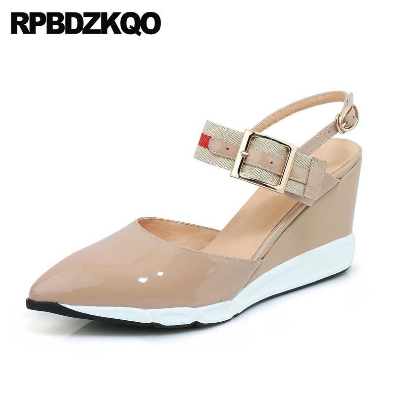 Thin Strap Heels Wedge Size 33 Pointed Toe Mary Jane Slingback Sandals Ladies 3 Inch Shoes Genuine Leather High Pumps Patent зеркало fbs decora 50x65 см с фацетом 10 мм вертикальное или горизонтальное cz 0805