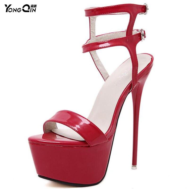 Mode Zomer Dames Sandalen Podium Sexy Hoge Hakken Nachtclub Dames Schoenen Sandalen Hot Sales 3 kleuren MAAT 34-40