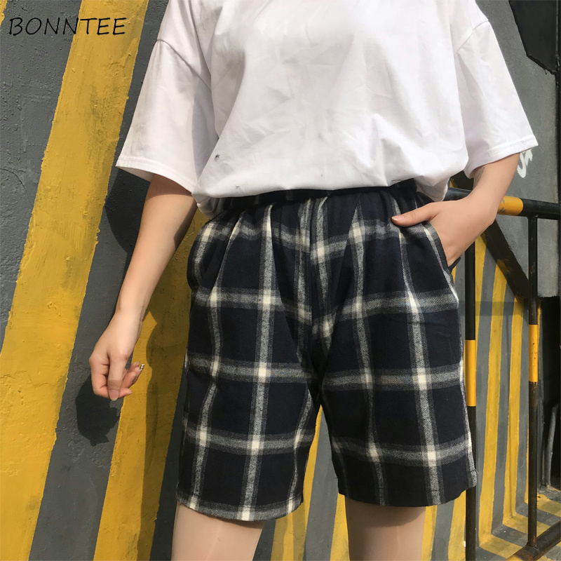 Shorts Women Harajuku Loose All-match Korean BF Plaid Simple Womens Retro Comfortable Trendy Students Summer Chic Elastic Casual