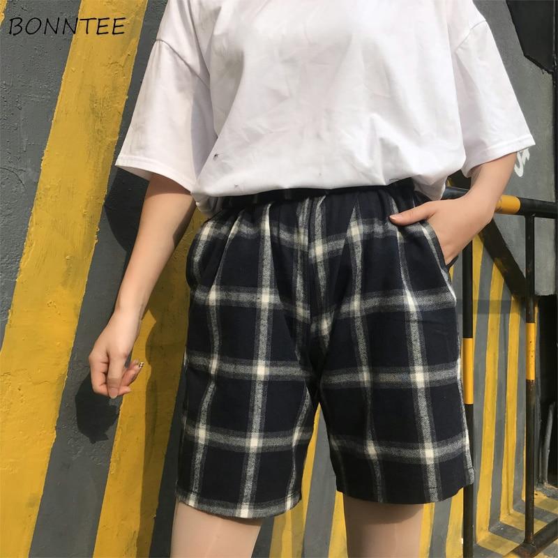 Shorts Women Harajuku Loose All-match Korean BF Plaid Simple Womens Retro Comfortable Trendy Students Summer Chic Elastic Casual