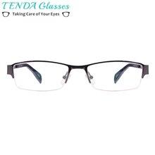 376f164273c4 Metal Half Rim Rectangular Eyeglass Frame Classic Business Style Men  Glasses For Prescription Lenses Myopia Reading