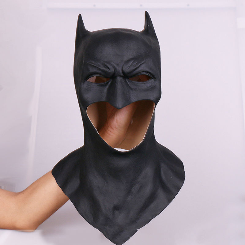 2018 New Superhero Batman Wayne Cosplay Balck Latex Helmet Eye Masks Halloween Hoods Party Costume Props Adult